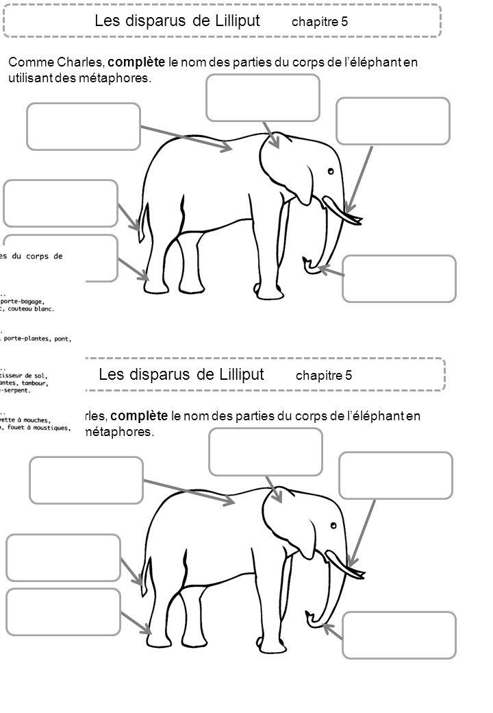 Les disparus de Lilliput chapitre 5 Comme Charles, complète le nom des parties du corps de léléphant en utilisant des métaphores. Les disparus de Lill