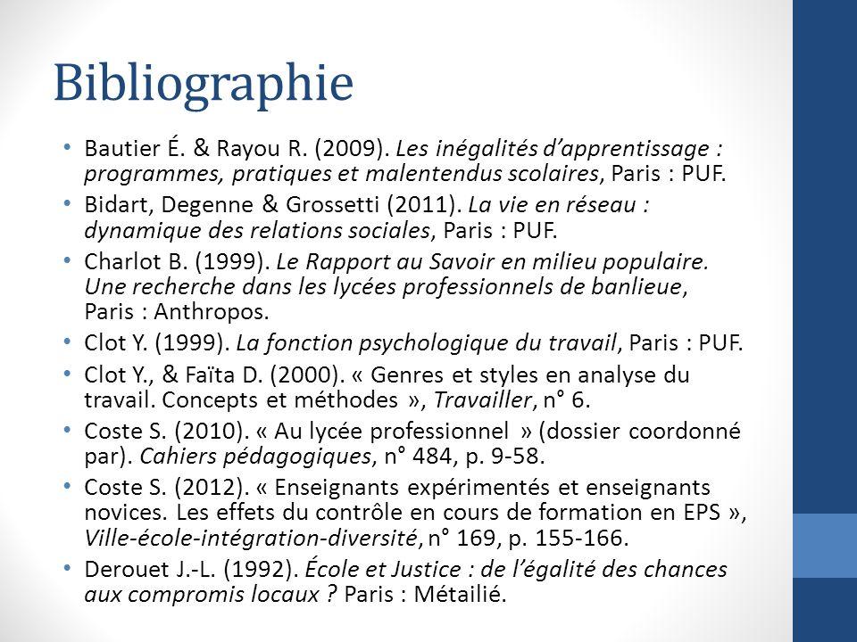 Bibliographie Bautier É. & Rayou R. (2009). Les inégalités dapprentissage : programmes, pratiques et malentendus scolaires, Paris : PUF. Bidart, Degen