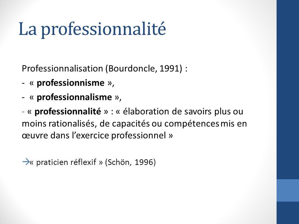 La professionnalité Professionnalisation (Bourdoncle, 1991) : - « professionnisme », - « professionnalisme », - « professionnalité » : « élaboration de savoirs plus ou moins rationalisés, de capacités ou compétences mis en œuvre dans lexercice professionnel » « praticien réflexif » (Schön, 1996)