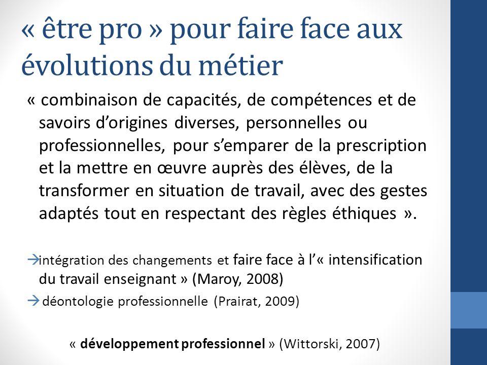 « être pro » pour faire face aux évolutions du métier « combinaison de capacités, de compétences et de savoirs dorigines diverses, personnelles ou pro