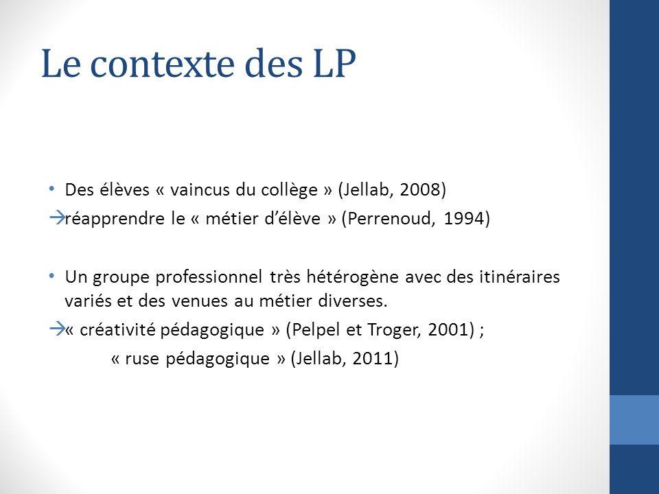 Le contexte des LP Des élèves « vaincus du collège » (Jellab, 2008) réapprendre le « métier délève » (Perrenoud, 1994) Un groupe professionnel très hétérogène avec des itinéraires variés et des venues au métier diverses.