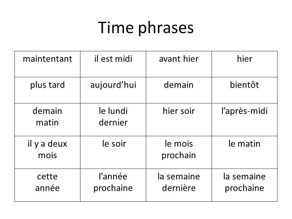 Time phrases maintentantil est midiavant hierhier plus tardaujourdhuidemainbientôt demain matin le lundi dernier hier soirlaprès-midi il y a deux mois