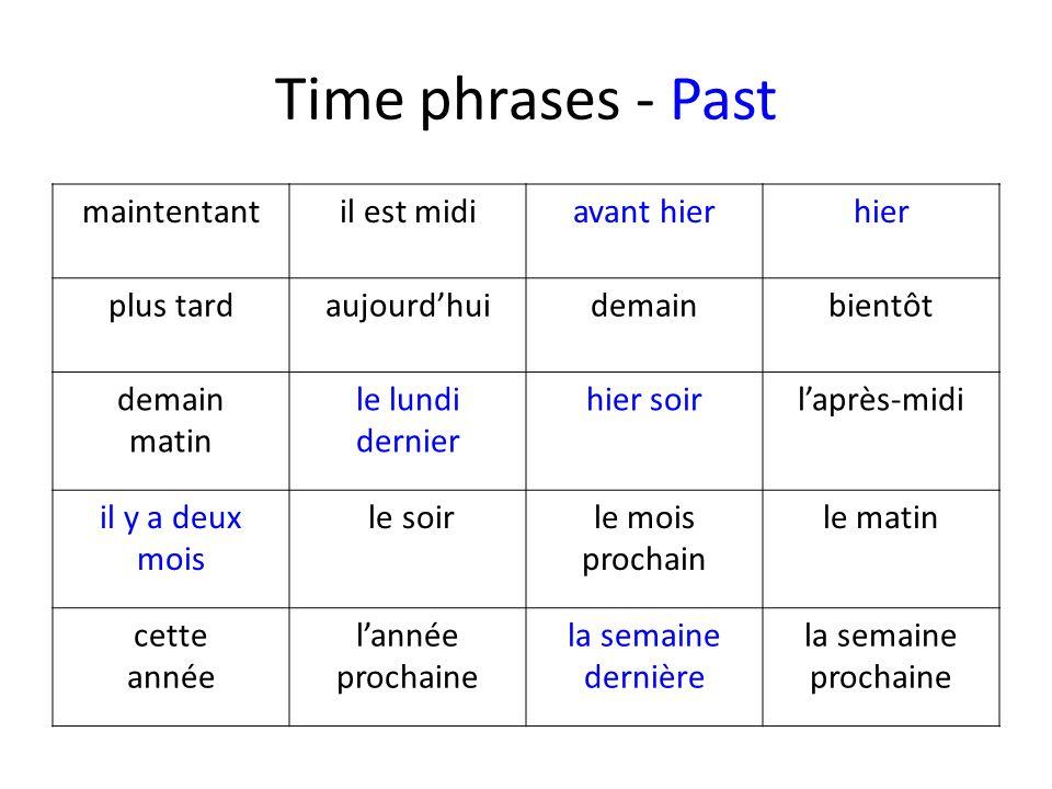 Time phrases - Past maintentantil est midiavant hierhier plus tardaujourdhuidemainbientôt demain matin le lundi dernier hier soirlaprès-midi il y a de