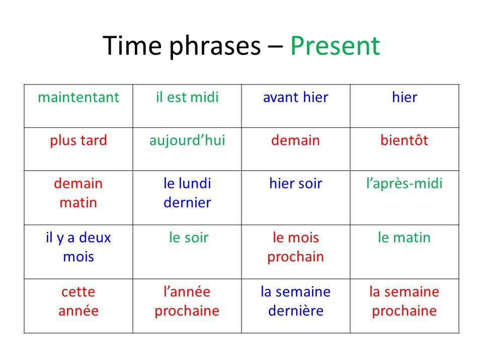 Time phrases – Present maintentantil est midiavant hierhier plus tardaujourdhuidemainbientôt demain matin le lundi dernier hier soirlaprès-midi il y a