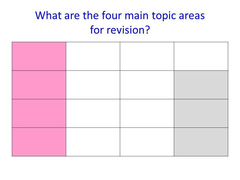 What are the four main topic areas for revision?
