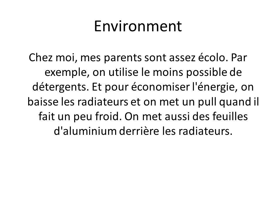 Environment Chez moi, mes parents sont assez écolo. Par exemple, on utilise le moins possible de détergents. Et pour économiser l'énergie, on baisse l