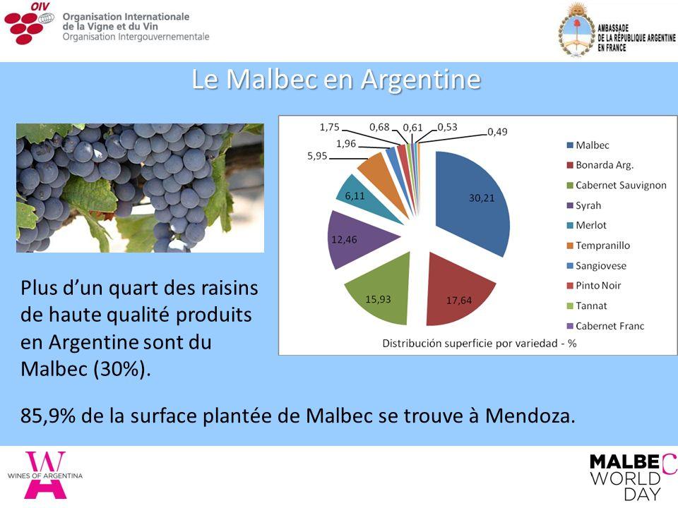 Le Malbec en Argentine Plus dun quart des raisins de haute qualité produits en Argentine sont du Malbec (30%).