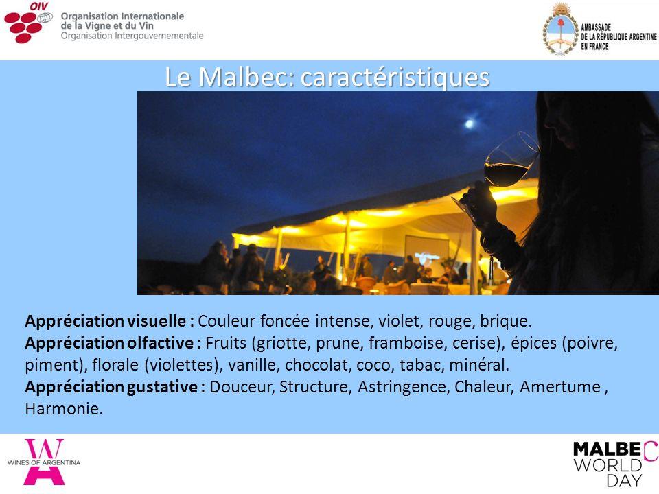 Le Malbec: caractéristiques Appréciation visuelle : Couleur foncée intense, violet, rouge, brique.
