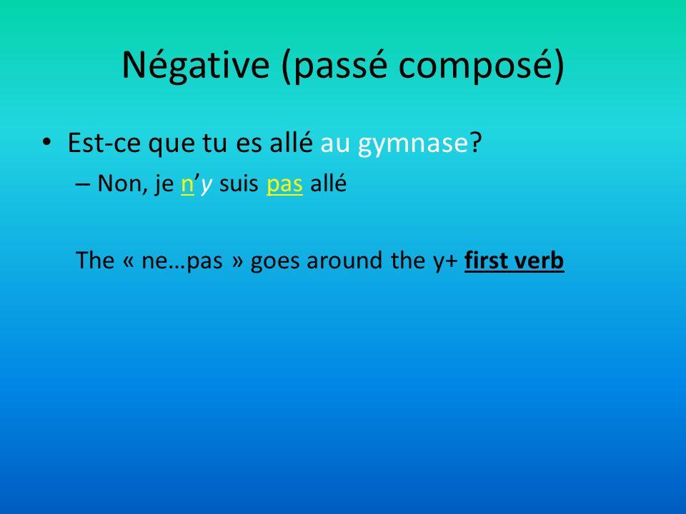 Négative (passé composé) Est-ce que tu es allé au gymnase? – Non, je ny suis pas allé The « ne…pas » goes around the y+ first verb