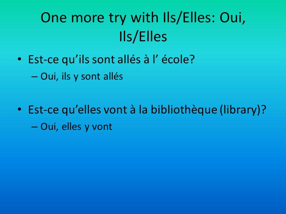 One more try with Ils/Elles: Oui, Ils/Elles Est-ce quils sont allés à l école? – Oui, ils y sont allés Est-ce quelles vont à la bibliothèque (library)