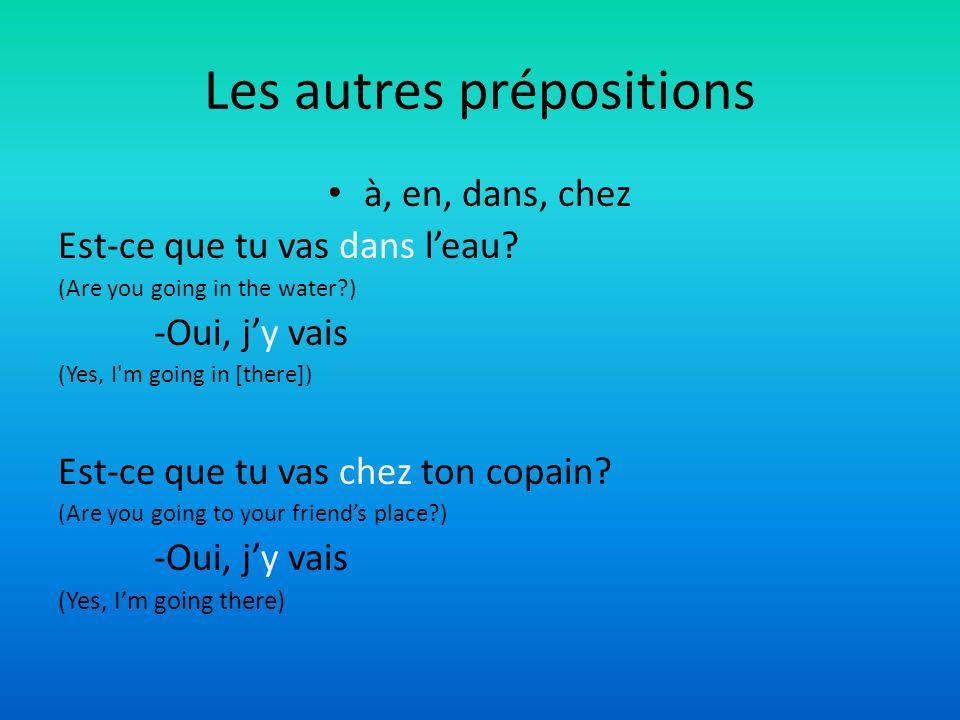 Les autres prépositions à, en, dans, chez Est-ce que tu vas dans leau? (Are you going in the water?) -Oui, jy vais (Yes, I'm going in [there]) Est-ce