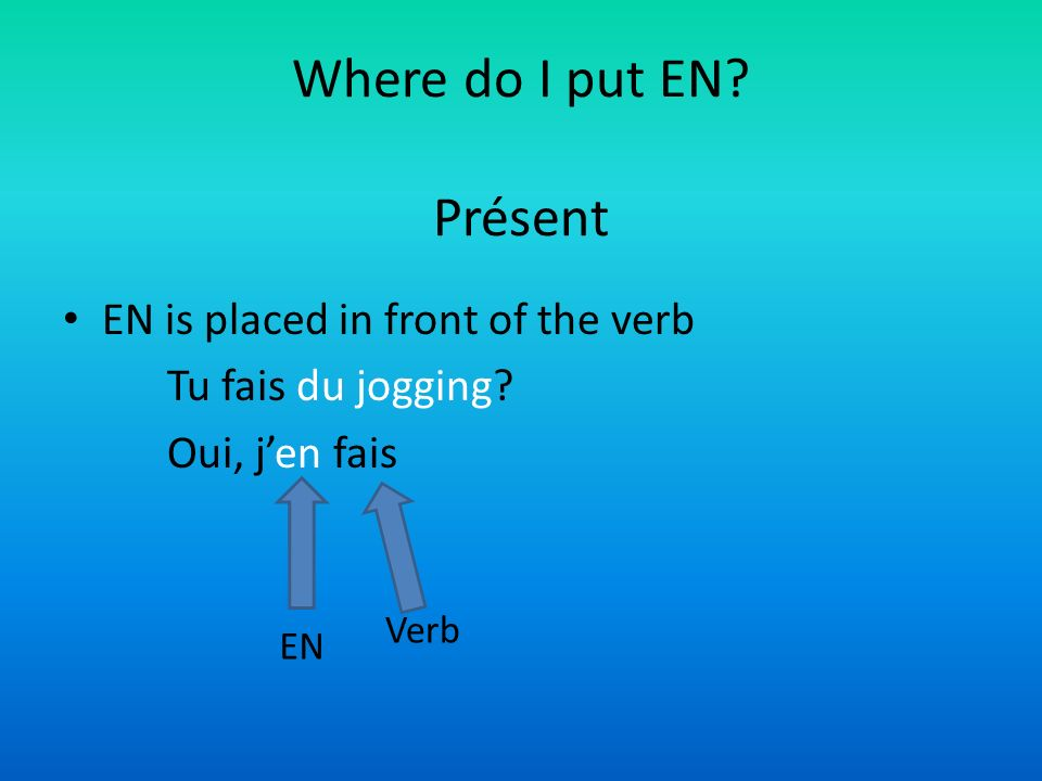 Where do I put EN.Présent EN is placed in front of the verb Tu fais du jogging.