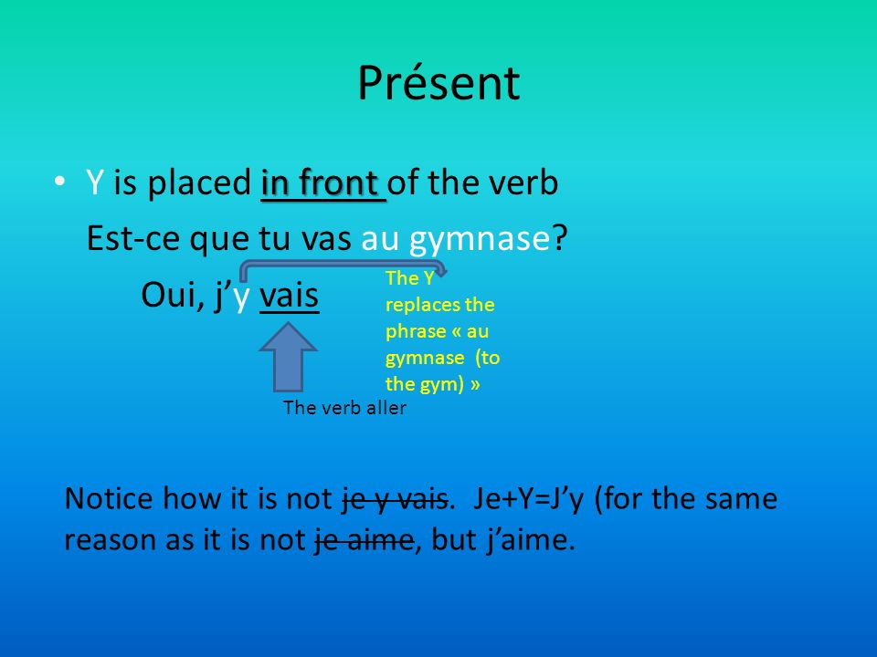 Présent in front Y is placed in front of the verb Est-ce que tu vas au gymnase.
