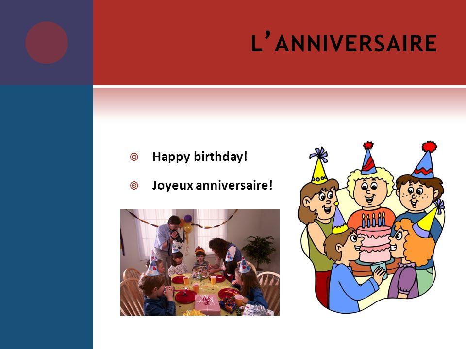 L ANNIVERSAIRE Happy birthday! Joyeux anniversaire!