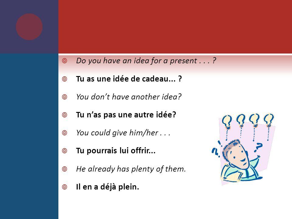Do you have an idea for a present...Tu as une idée de cadeau...