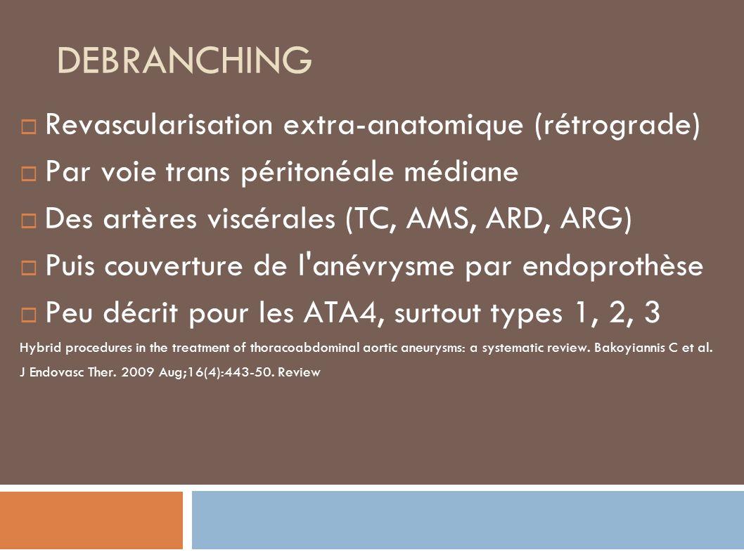 DEBRANCHING Revascularisation extra-anatomique (rétrograde) Par voie trans péritonéale médiane Des artères viscérales (TC, AMS, ARD, ARG) Puis couverture de l anévrysme par endoprothèse Peu décrit pour les ATA4, surtout types 1, 2, 3 Hybrid procedures in the treatment of thoracoabdominal aortic aneurysms: a systematic review.