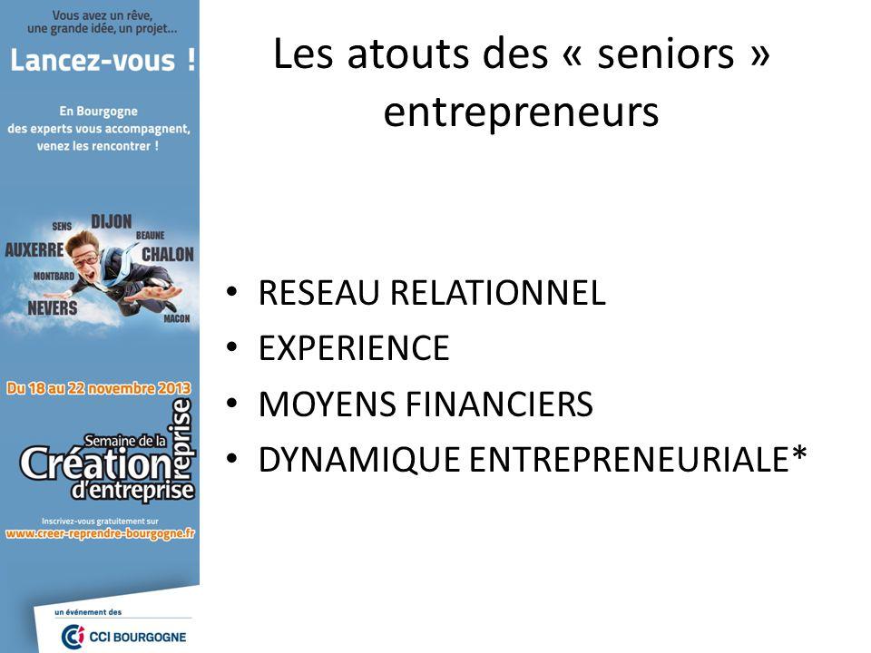 Les atouts des « seniors » entrepreneurs RESEAU RELATIONNEL EXPERIENCE MOYENS FINANCIERS DYNAMIQUE ENTREPRENEURIALE*