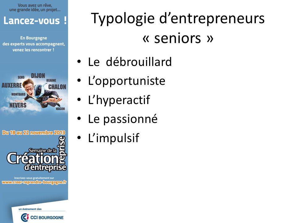 Typologie dentrepreneurs « seniors » Le débrouillard Lopportuniste Lhyperactif Le passionné Limpulsif