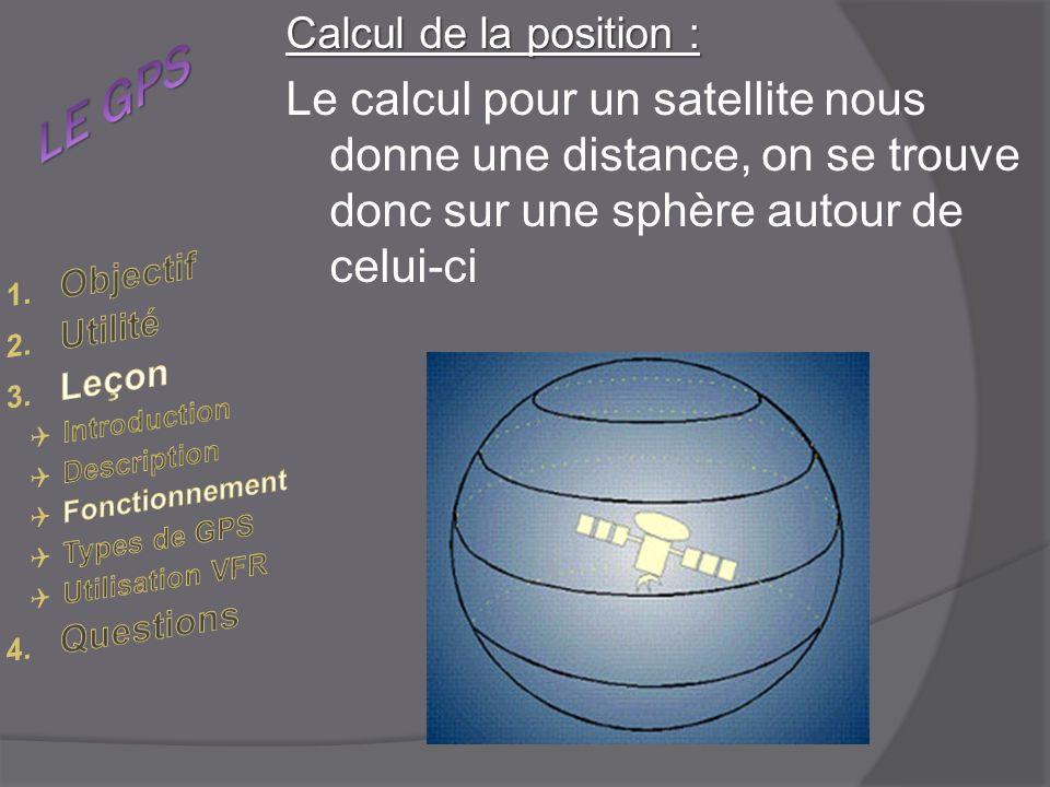 Calcul de la position : Le calcul pour un satellite nous donne une distance, on se trouve donc sur une sphère autour de celui-ci