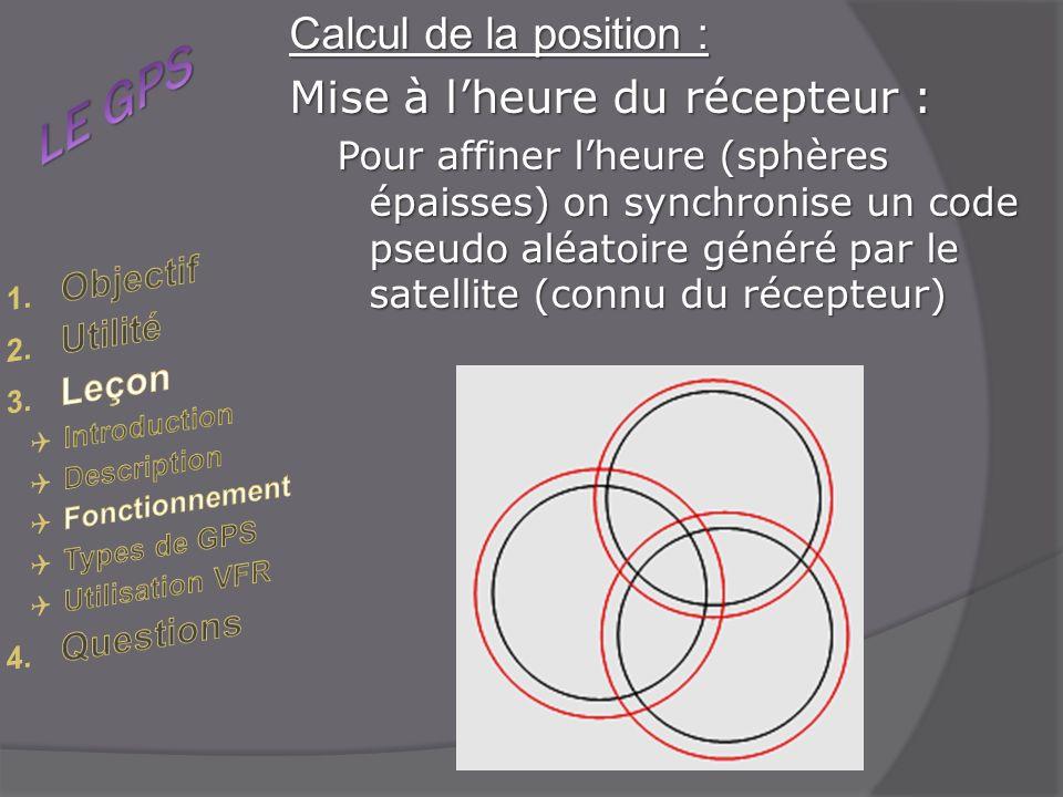 Calcul de la position : Mise à lheure du récepteur : Pour affiner lheure (sphères épaisses) on synchronise un code pseudo aléatoire généré par le satellite (connu du récepteur)