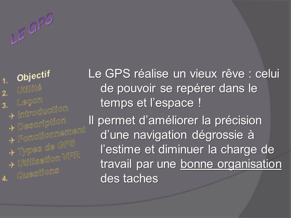 Le GPS réalise un vieux rêve : celui de pouvoir se repérer dans le temps et lespace .