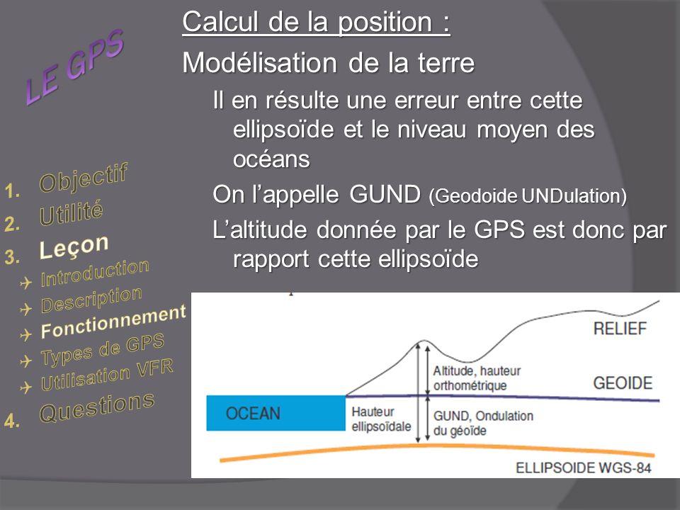 Calcul de la position : Modélisation de la terre Il en résulte une erreur entre cette ellipsoïde et le niveau moyen des océans On lappelle GUND (Geodoide UNDulation) Laltitude donnée par le GPS est donc par rapport cette ellipsoïde