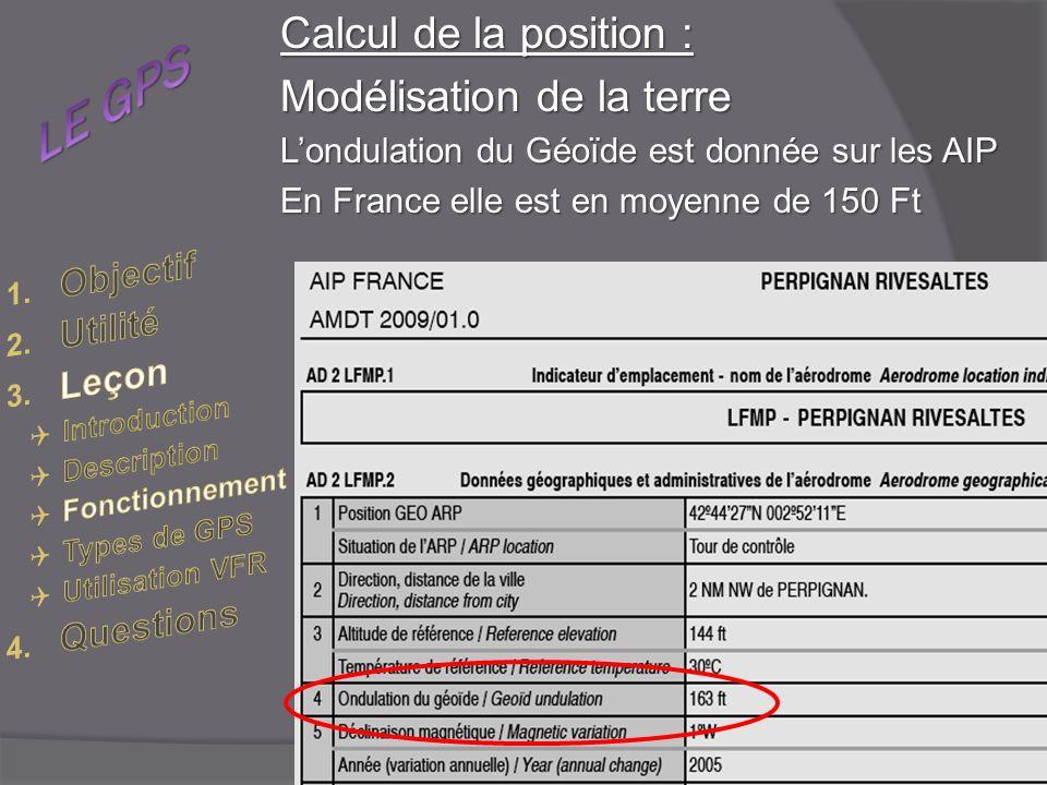 Calcul de la position : Modélisation de la terre Londulation du Géoïde est donnée sur les AIP En France elle est en moyenne de 150 Ft