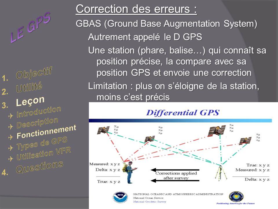 Correction des erreurs : GBAS (Ground Base Augmentation System) Autrement appelé le D GPS Une station (phare, balise…) qui connaît sa position précise, la compare avec sa position GPS et envoie une correction Limitation : plus on séloigne de la station, moins cest précis