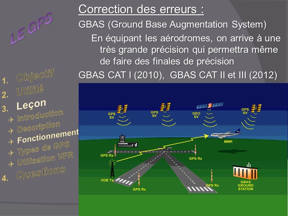 Correction des erreurs : GBAS (Ground Base Augmentation System) En équipant les aérodromes, on arrive à une très grande précision qui permettra même de faire des finales de précision GBAS CAT I (2010), GBAS CAT II et III (2012)