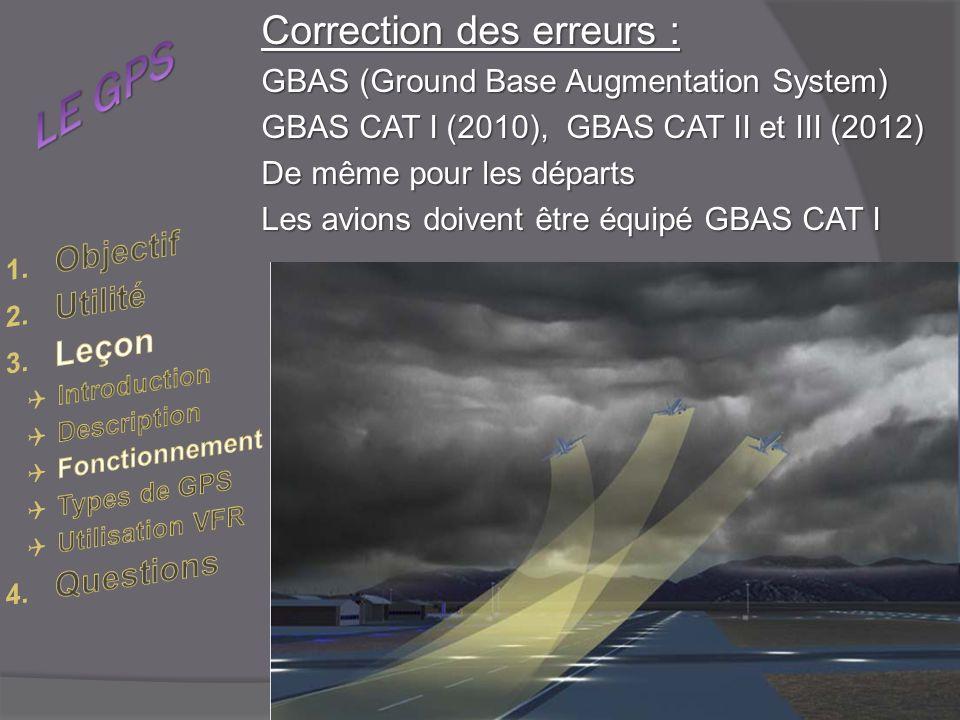 Correction des erreurs : GBAS (Ground Base Augmentation System) GBAS CAT I (2010), GBAS CAT II et III (2012) De même pour les départs Les avions doivent être équipé GBAS CAT I