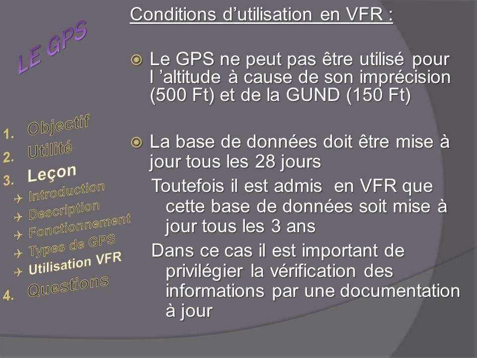 Conditions dutilisation en VFR : Le GPS ne peut pas être utilisé pour l altitude à cause de son imprécision (500 Ft) et de la GUND (150 Ft) Le GPS ne peut pas être utilisé pour l altitude à cause de son imprécision (500 Ft) et de la GUND (150 Ft) La base de données doit être mise à jour tous les 28 jours La base de données doit être mise à jour tous les 28 jours Toutefois il est admis en VFR que cette base de données soit mise à jour tous les 3 ans Dans ce cas il est important de privilégier la vérification des informations par une documentation à jour