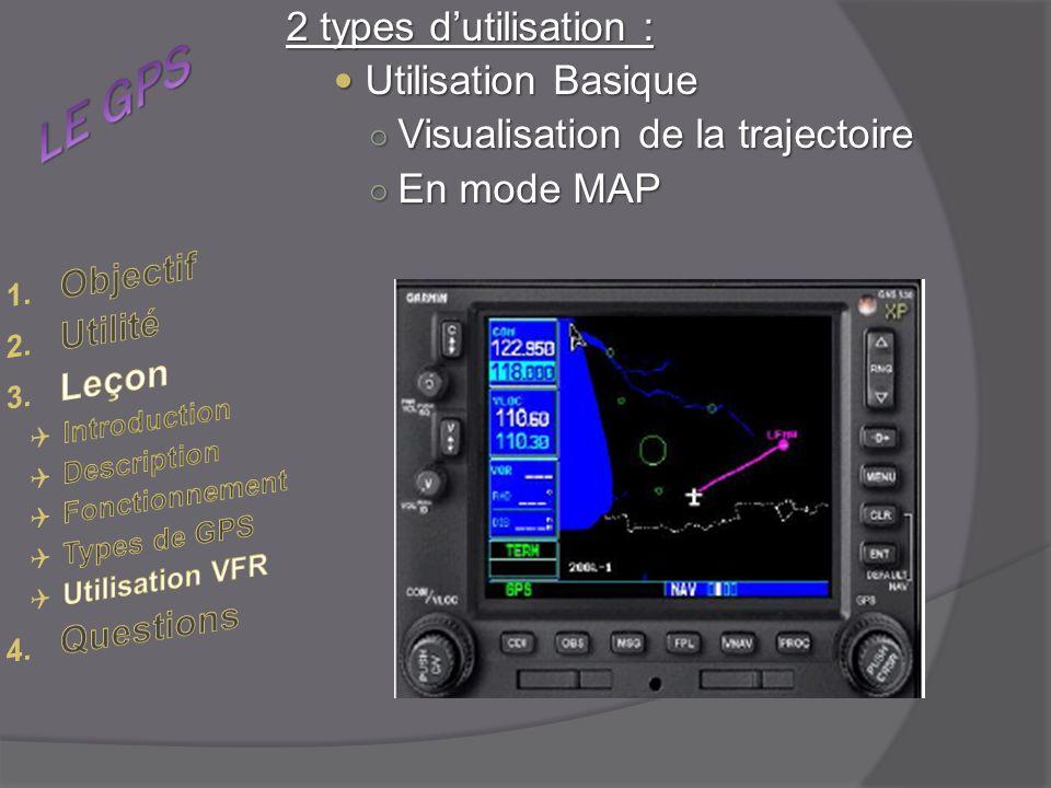 2 types dutilisation : Utilisation Basique Utilisation Basique Visualisation de la trajectoire Visualisation de la trajectoire En mode MAP En mode MAP