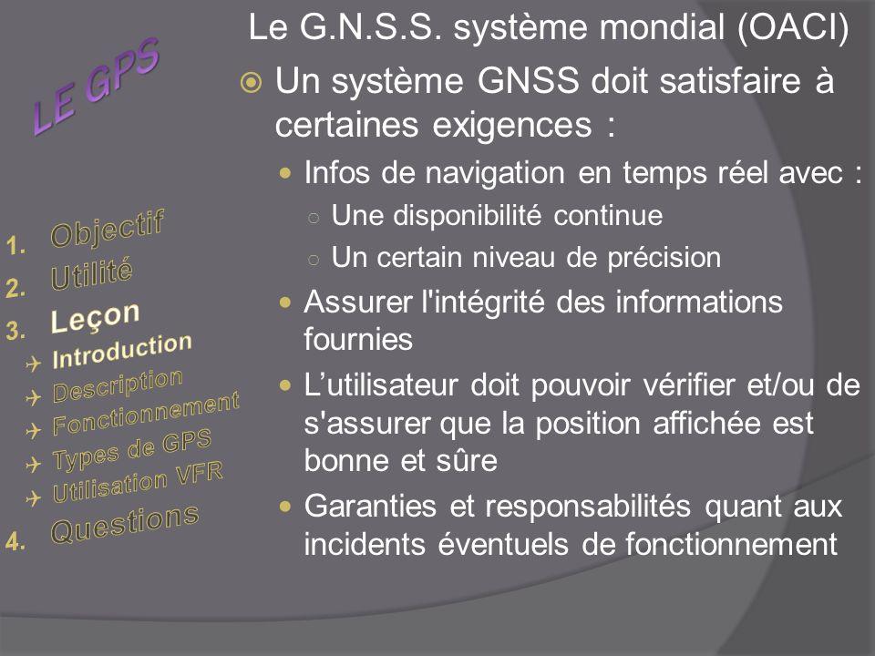 Le G.N.S.S. système mondial (OACI) Un système GNSS doit satisfaire à certaines exigences : Infos de navigation en temps réel avec : Une disponibilité