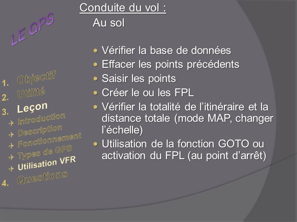 Conduite du vol : Au sol Vérifier la base de données Vérifier la base de données Effacer les points précédents Effacer les points précédents Saisir les points Saisir les points Créer le ou les FPL Créer le ou les FPL Vérifier la totalité de litinéraire et la distance totale (mode MAP, changer léchelle) Vérifier la totalité de litinéraire et la distance totale (mode MAP, changer léchelle) Utilisation de la fonction GOTO ou activation du FPL (au point darrêt) Utilisation de la fonction GOTO ou activation du FPL (au point darrêt)