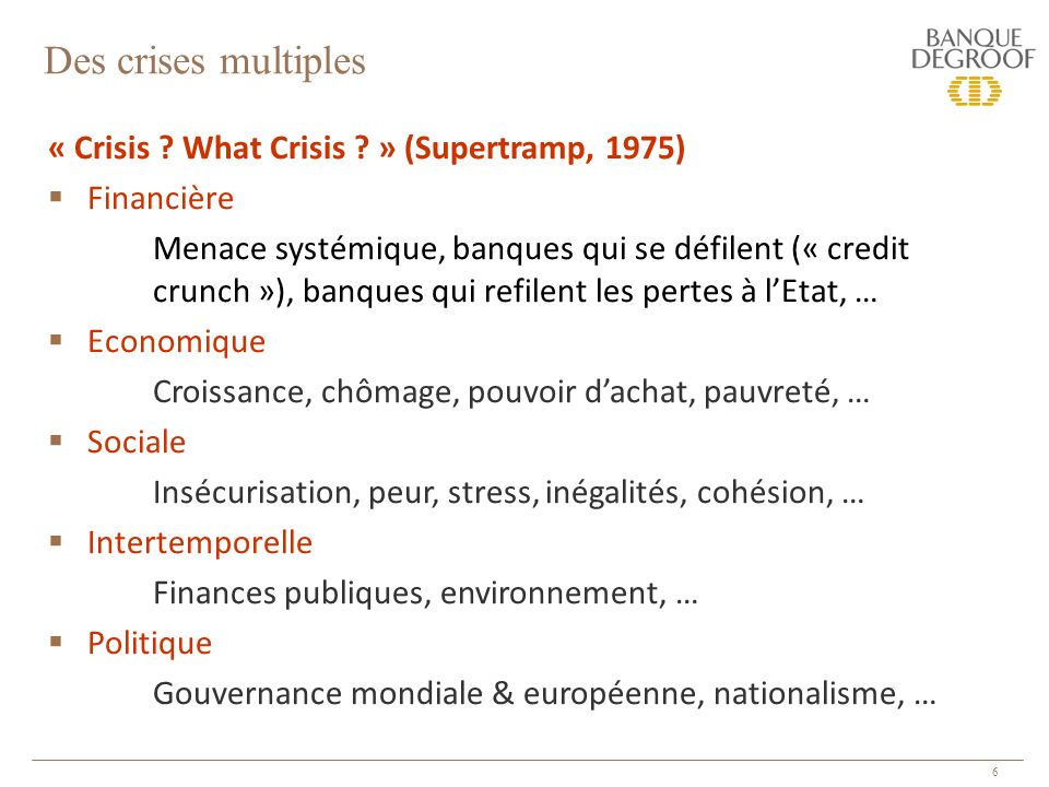 6 « Crisis ? What Crisis ? » (Supertramp, 1975) Financière Menace systémique, banques qui se défilent (« credit crunch »), banques qui refilent les pe