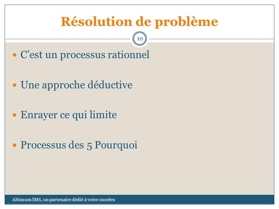 Résolution de problème Cest un processus rationnel Une approche déductive Enrayer ce qui limite Processus des 5 Pourquoi 10 Altimum IMS, un partenaire