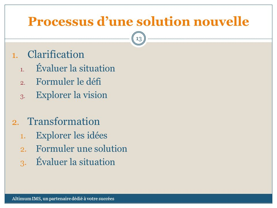 Processus dune solution nouvelle 1.Clarification 1.