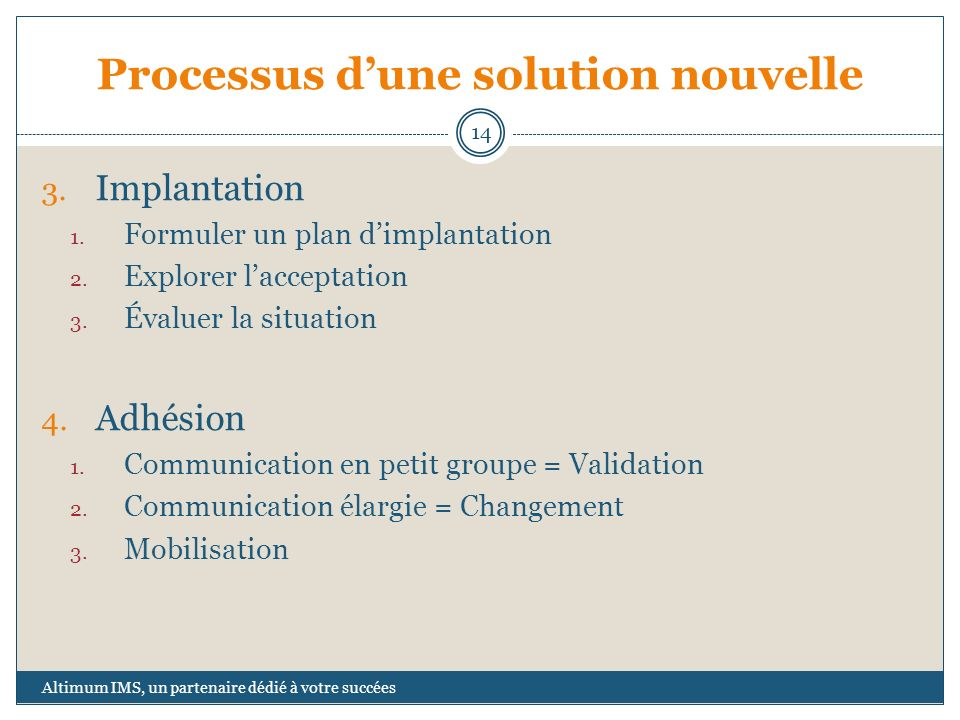 Processus dune solution nouvelle 3.Implantation 1.