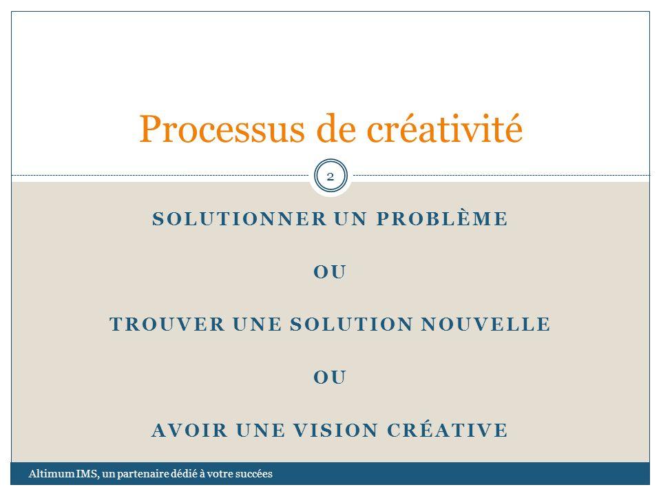 SOLUTIONNER UN PROBLÈME OU TROUVER UNE SOLUTION NOUVELLE OU AVOIR UNE VISION CRÉATIVE Processus de créativité 2 Altimum IMS, un partenaire dédié à vot