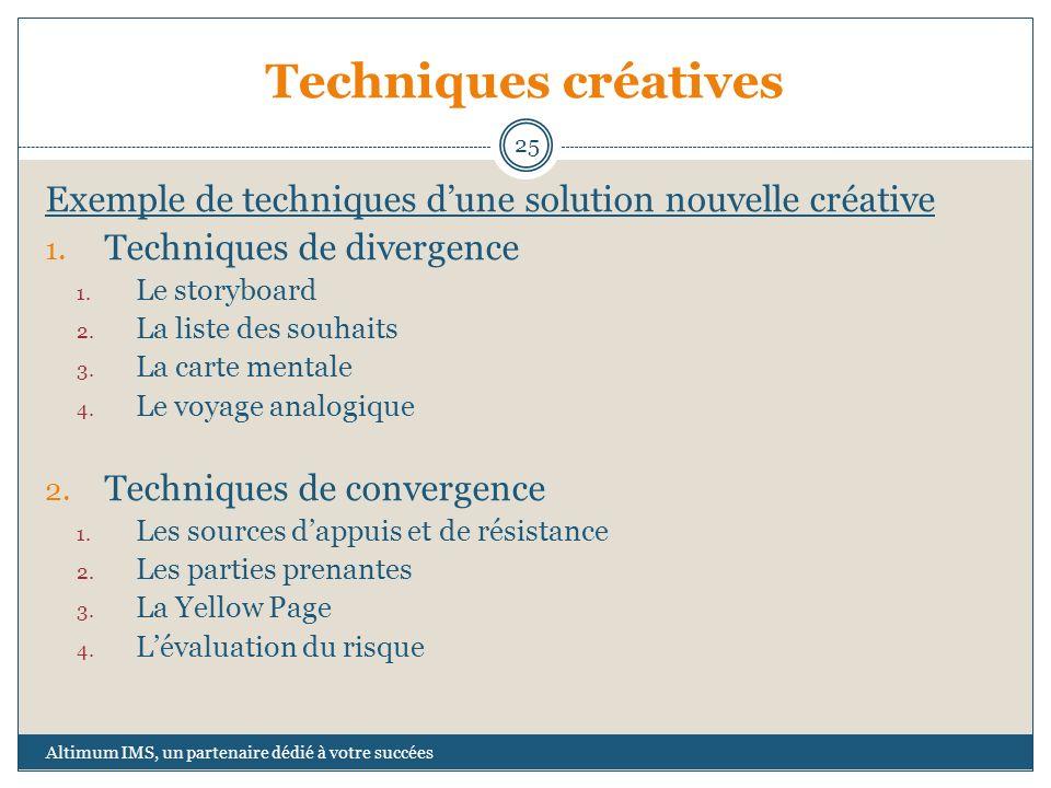 Techniques créatives Exemple de techniques dune solution nouvelle créative 1. Techniques de divergence 1. Le storyboard 2. La liste des souhaits 3. La