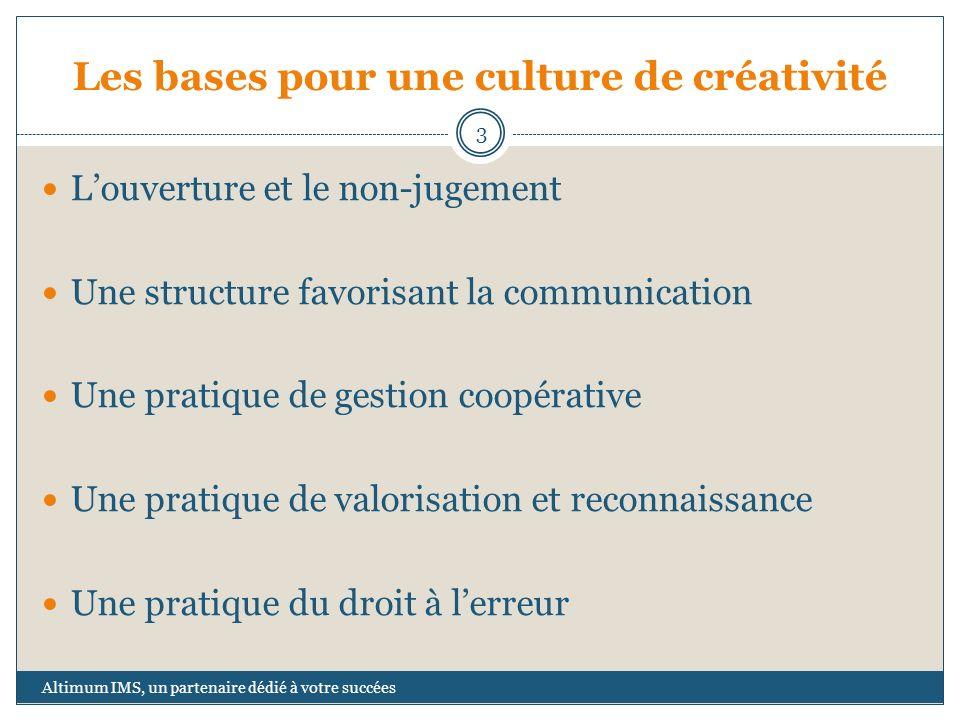 Les bases pour une culture de créativité Louverture et le non-jugement Une structure favorisant la communication Une pratique de gestion coopérative U