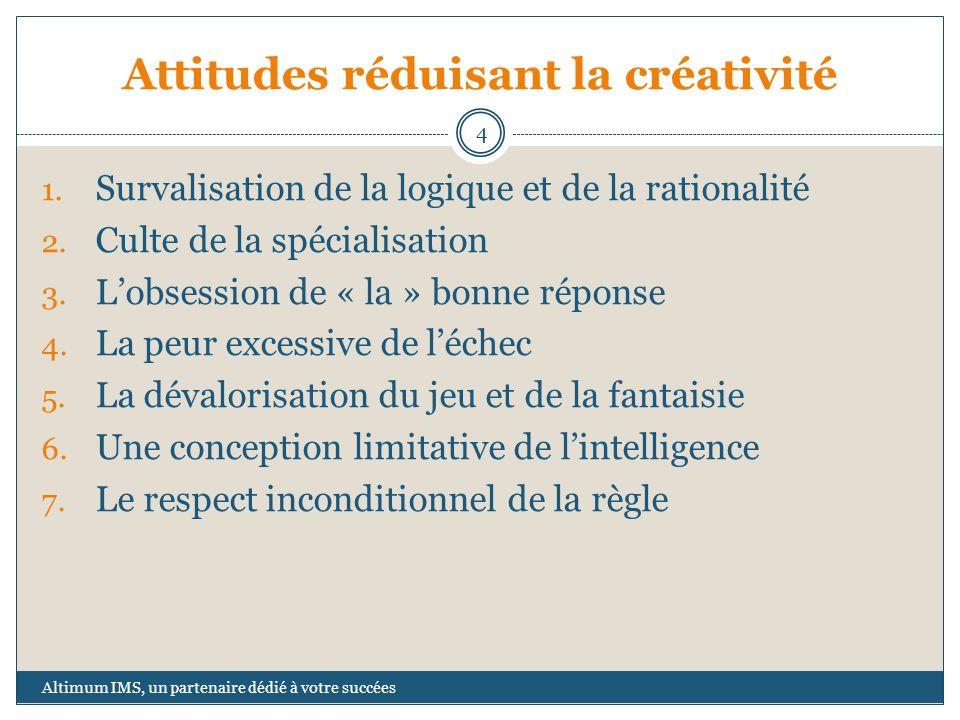 Attitudes réduisant la créativité 1. Survalisation de la logique et de la rationalité 2. Culte de la spécialisation 3. Lobsession de « la » bonne répo