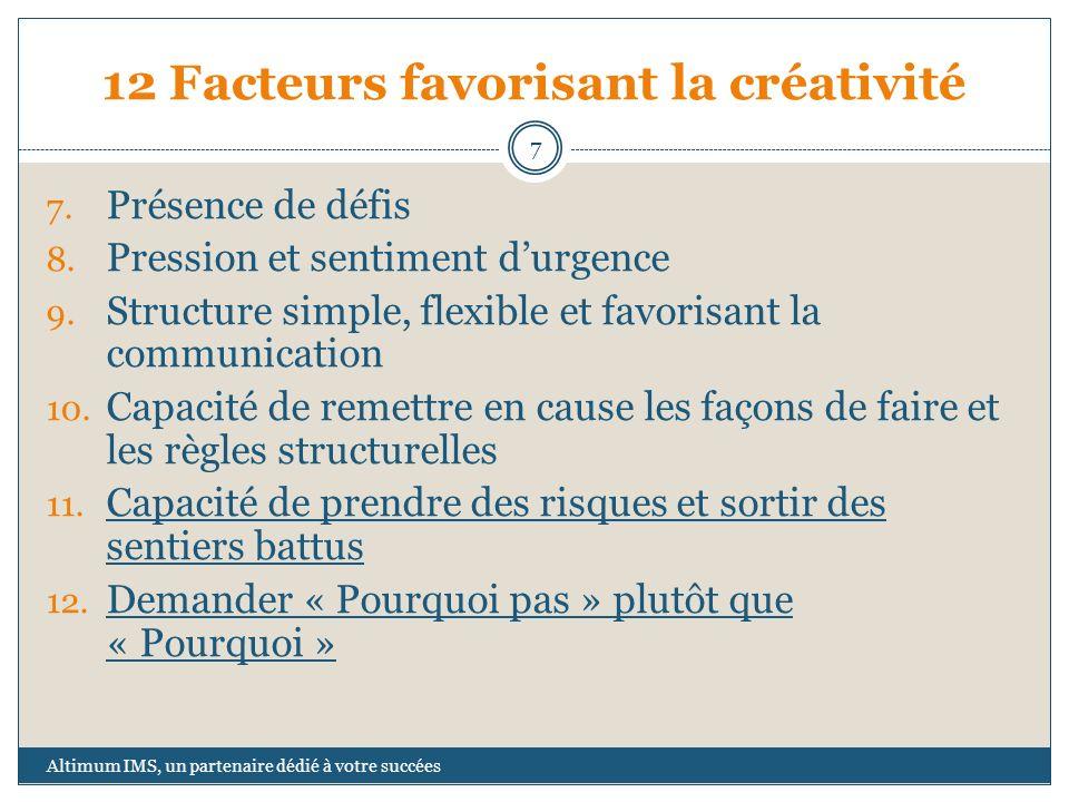 12 Facteurs favorisant la créativité 7. Présence de défis 8. Pression et sentiment durgence 9. Structure simple, flexible et favorisant la communicati