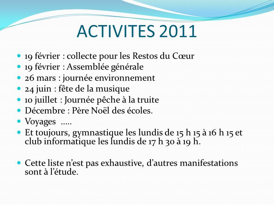 ACTIVITES 2011 19 février : collecte pour les Restos du Cœur 19 février : Assemblée générale 26 mars : journée environnement 24 juin : fête de la musique 10 juillet : Journée pêche à la truite Décembre : Père Noël des écoles.