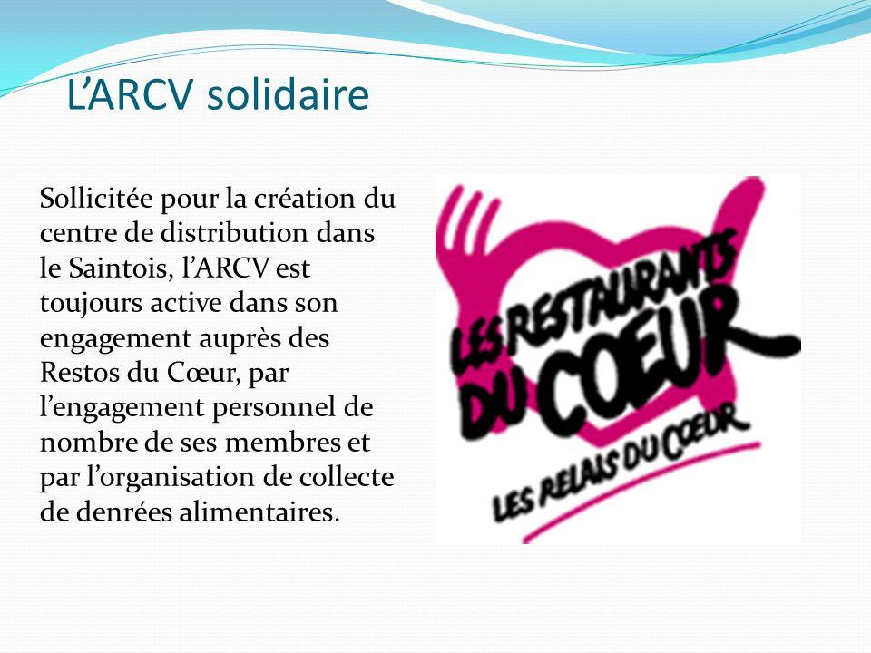 LARCV solidaire Sollicitée pour la création du centre de distribution dans le Saintois, lARCV est toujours active dans son engagement auprès des Restos du Cœur, par lengagement personnel de nombre de ses membres et par lorganisation de collecte de denrées alimentaires.