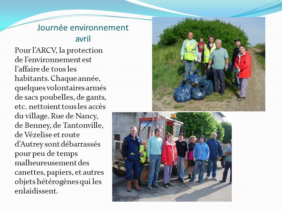 Journée environnement avril Pour lARCV, la protection de lenvironnement est laffaire de tous les habitants.