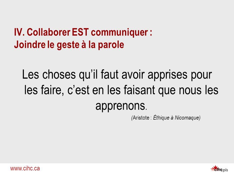 www.cihc.ca IV. Collaborer EST communiquer : Joindre le geste à la parole Les choses quil faut avoir apprises pour les faire, cest en les faisant que