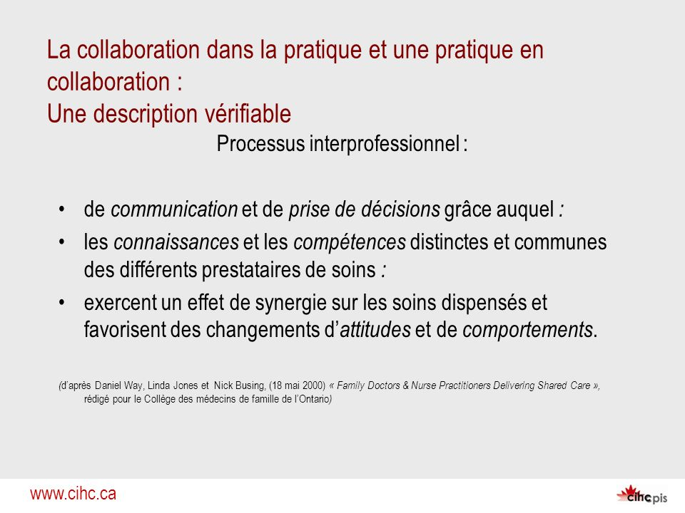 www.cihc.ca La collaboration dans la pratique et une pratique en collaboration : Une description vérifiable Processus interprofessionnel : de communic