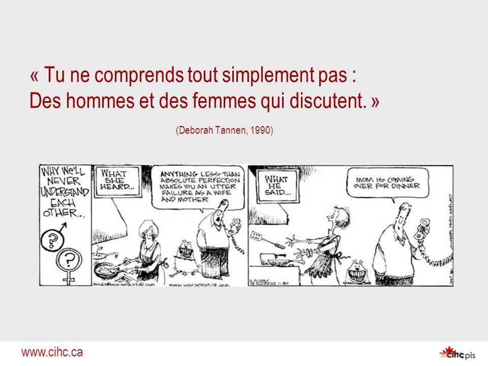 www.cihc.ca « Tu ne comprends tout simplement pas : Des hommes et des femmes qui discutent. » (Deborah Tannen, 1990)