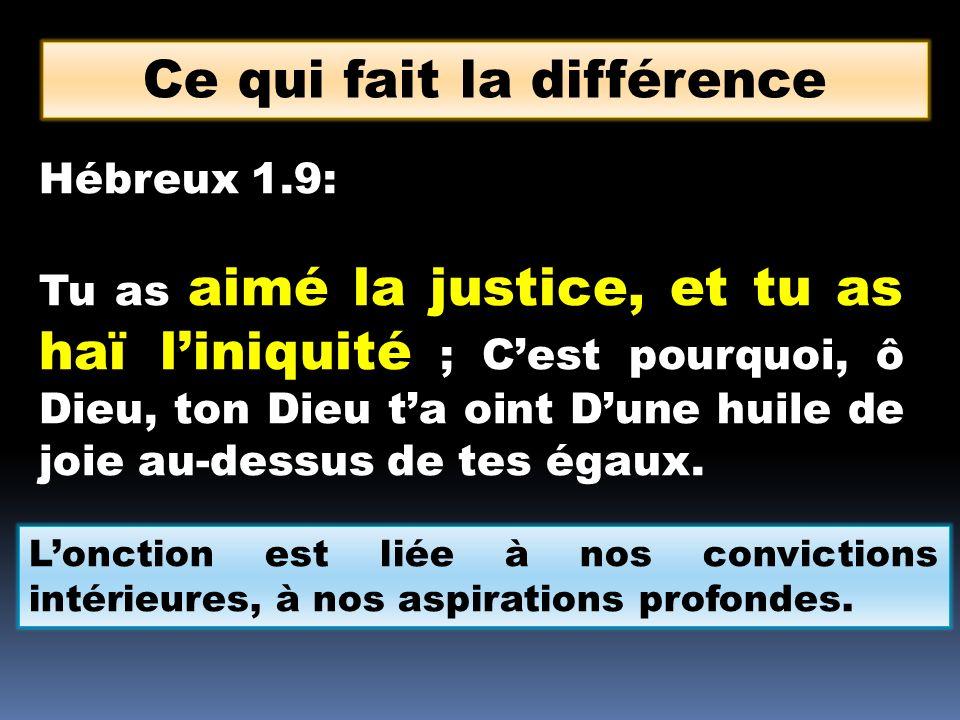 Hébreux 1.9: Tu as aimé la justice, et tu as haï liniquité ; Cest pourquoi, ô Dieu, ton Dieu ta oint Dune huile de joie au-dessus de tes égaux. Ce qui